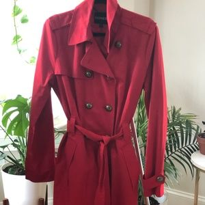 Belted Red Trench Coat